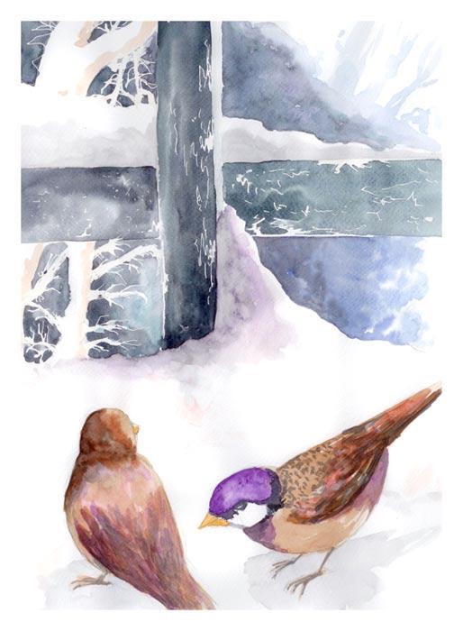 aqaurelle-neige-oiseaux