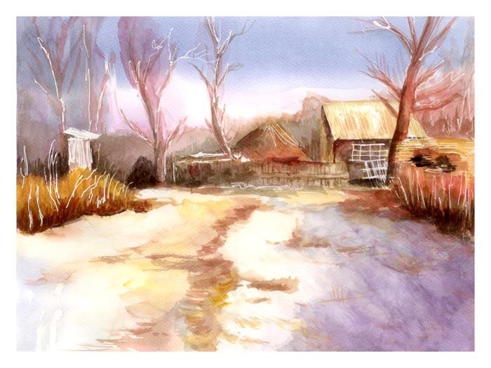 aquarelle-maison-neige